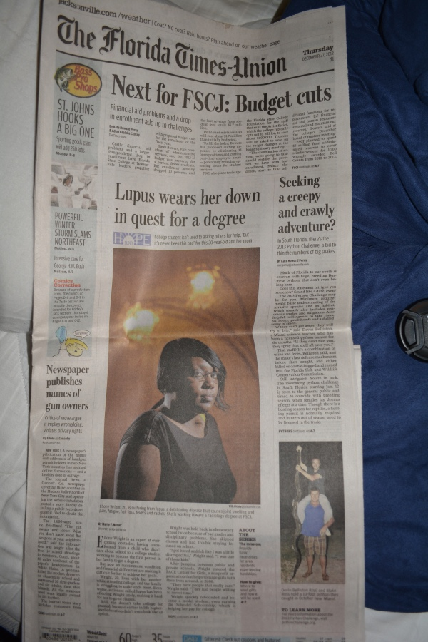 "Dec. 27, 2012- ""Lupus wears her down in quest for a degree "" *Hope Fund) article in ""The Florida Times Union."" (Part 1 with picture)"