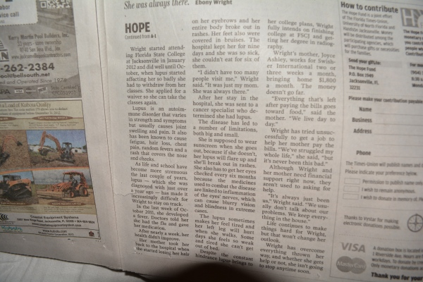 "Dec. 27, 2012- ""Lupus wears her down in quest for a degree "" *Hope Fund) article in ""The Florida Times Union."" (Part 2)"