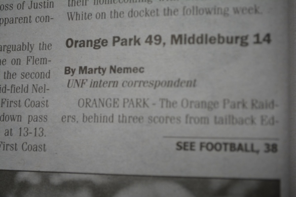 "Oct. 11, 2012- ""Orange Park 49, Middleburg 14"" article in ""Clay Today."" (Part 1)"