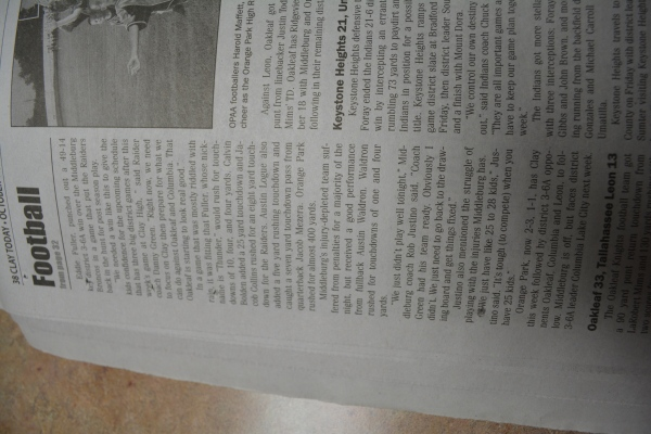 "Oct. 11, 2012- ""Orange Park 49, Middleburg 14"" article in ""Clay Today."" (Part 2)"
