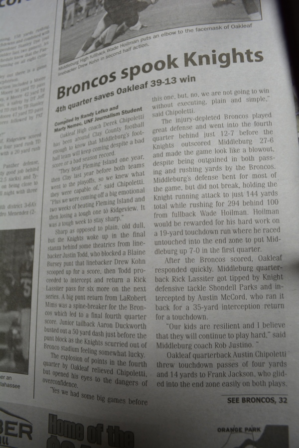 "Nov. 1, 2012- ""Broncos spook Knights"" article in ""Clay Today."" (Part 1)"