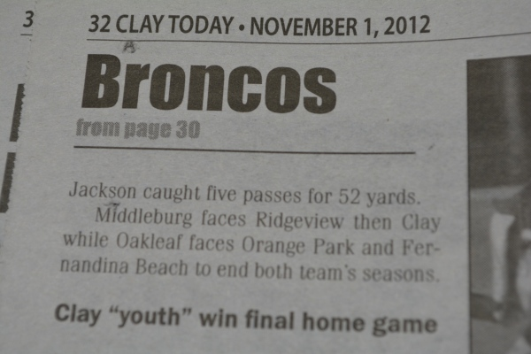 "Nov. 1, 2012- ""Broncos spook Knights"" article in ""Clay Today."" (Part 2)"