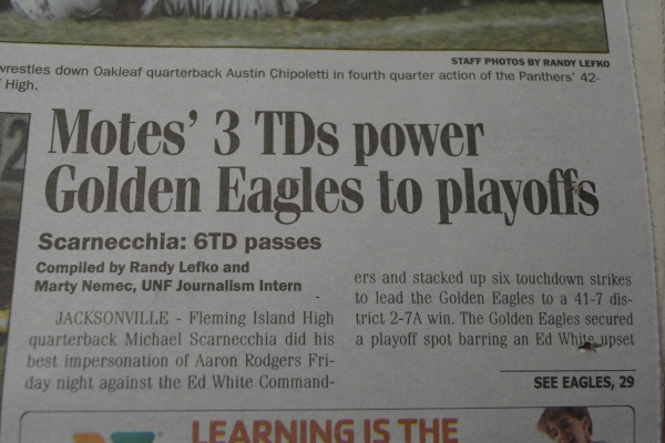 "Oct. 26, 2012- ""Motes' 3 TDs power Golden Eagles to playoffs"" article in ""Clay Today."" (Part 1)"