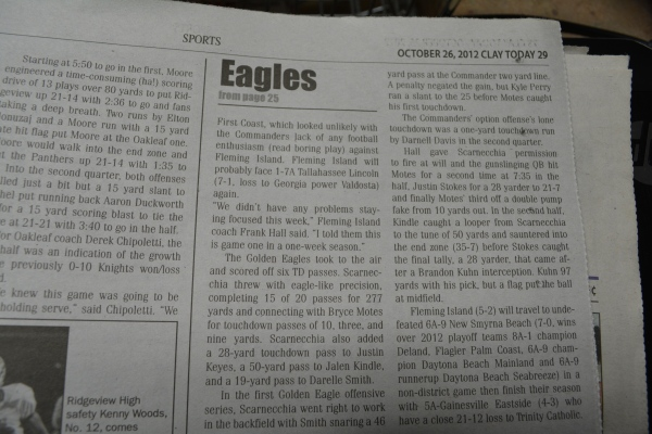 "Oct. 26, 2012- ""Motes' 3 TDs power Golden Eagles to playoffs"" article in ""Clay Today."" (Part 2)"