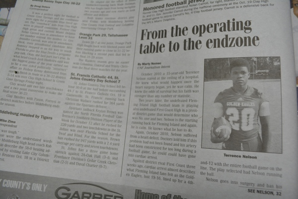 "Oct. 26, 2012- ""From the operating table to the endzone "" article in ""Clay Today."" (Part 1)"