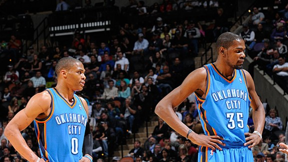 Kevin Durant (#35) and Russell Westbrook (#0) after their loss to the Spurs