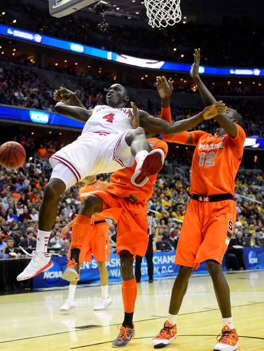 Victor Oladipo #4 and the rest of the Indiana Hoosiers were no match for the Syracuse Orange. (Photo by: Bob Donnan/ USA Today Sports)