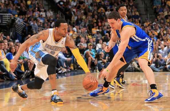 Andre Iguodala was a force to be reckoned with as he helped the Denver Nuggets fight off elimination in a 107-100 win over the Golden State Warriors. (Photo by: Doug Pensinger/Getty Images North America)