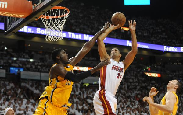 Miami Heat forward Shane Battier (31) has had trouble shooting against the vaunted Indiana Pacer defense in this series. (Photo by: Joe Cavaretta / Sun Sentinel)