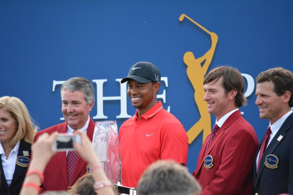 Tiger Woods smiles as the champion of the Players Championship.