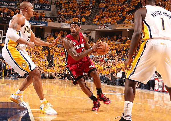 LeBron James and the Miami Heat were tested against the Indiana Pacers (Photo by: Nathaniel S. Butler/NBAE via Getty Images)