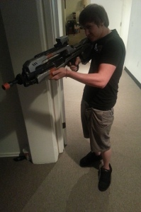 My friend, Allen Armstrong, shooting a BR from Halo.