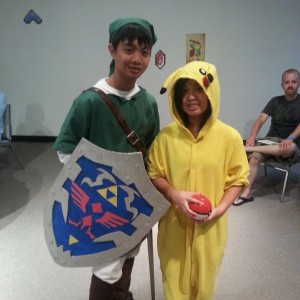 Link from Legend of Zelda and Pikachu from Pokemon.
