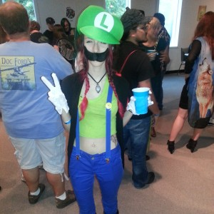 A female Luigi from The Super Mario Brothers.