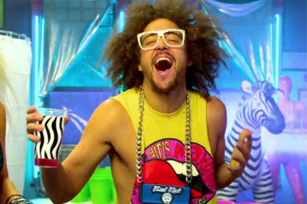 As I looked for a picture to show my excitement, I really couldn't find one even close to this one of LMFAO's Redfoo.